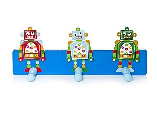 Kids Blue Robot Themed Coat Wall Hook for Boys by Mousehouse Gifts