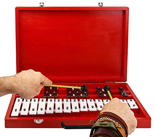 - Glockenspiel 25-Note Chromatic Xylophone in Red Wooden Case with Handle