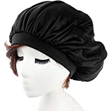 Refaxi New Black Sleeping Hat Night Sleep Cap Hair Care Satin Bonnet Nightcap For Women Men