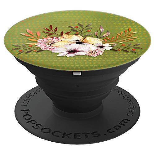 - Flower Bouquet On Earth Green Texture Phone Accessory - PopSockets Grip and Stand for Phones and Tablets
