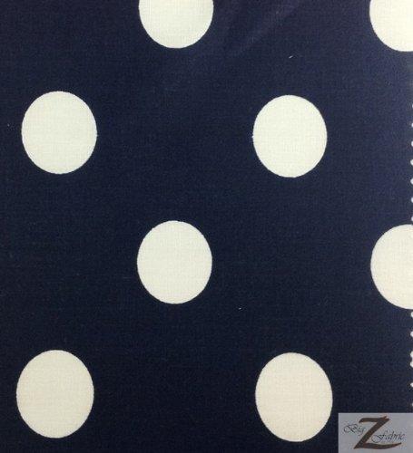 Blue Polka Dot Fabric - LA Linen™ Big Polka Dot Poly Cotton Print, Fabric By The Yard, White on Navy Blue.
