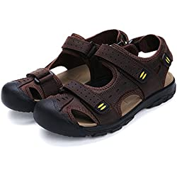 Deer Men's Sandles Leather Athletic Sport Beach Flats Shoes Dark-Brown EU44