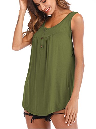 - Famulily Women's Loose Fitting Flowy Tank Top Sleeveless V Neck Button up Tunic Blouse Army Green XL