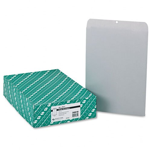Quality Park : Clasp Envelope, 12 x 15 1/2, 28lb, Executive Gray, 100/box -:- Sold as 2 Packs of - 1 - / - Total of 2 Each
