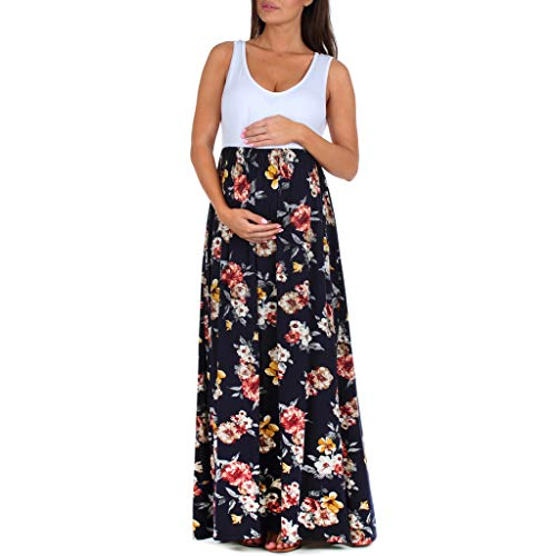 Women's Sleeveless Ruched Color Block Maxi Maternity Dress - Made in USA White Navy ()