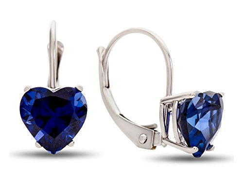 - Finejewelers 7x7mm Heart Shaped Created Sapphire Lever-back Drop Earrings 10 kt White Gold