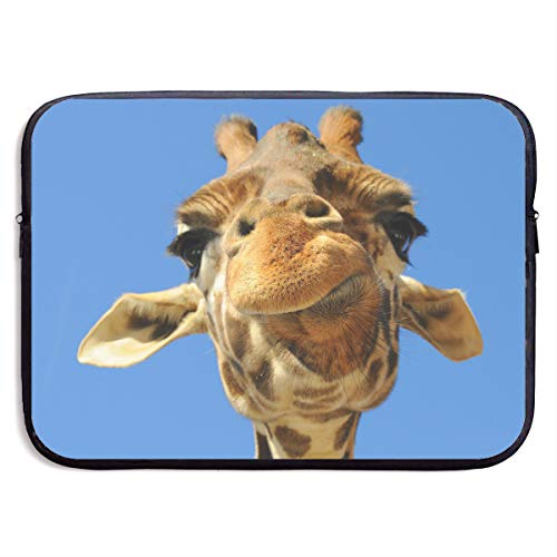 Custom Laptop Sleeve 13/15 Inch Chromebook Zipper Briefcase Giraffe Funny Emoji Print Portable Messenger Bag