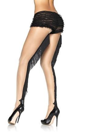 PrinnyLingerie FEMME SEXY COULEUR CHAIR Collant avec franges noir couture  longitudinale Charleston filles  20 Cowgirl adf8d75fc74