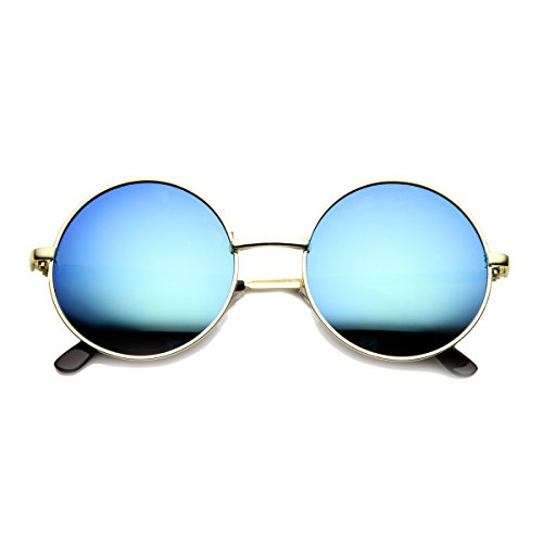 zeroUV - Mid Sized Metal Lennon Style Flash Mirror Round Sunglasses (Gold - John Lennon Mirror Mirror