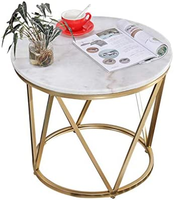Bestellen GWFVA smeedijzeren salontafel, Scandinavisch minimalistisch bijzettafel, marmeren tafelblad, handgelast frame, voor woonkamerbank 60 × 50 cm).  GyL099S