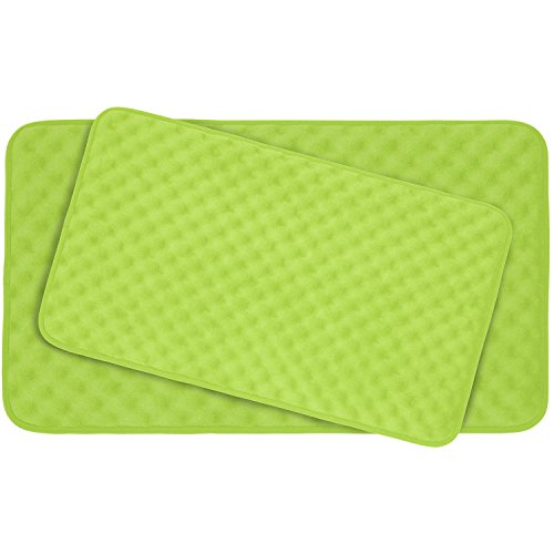 Bounce Comfort Extra Thick Memory Foam Bath Mat Set - Massage Plush 2 Piece Set with BounceComfort Technology, 20 x 32 in. Lime (Lime Green Bath Mat Set)