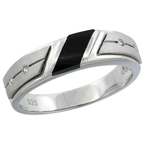 Pave Black Onyx - Sterling Silver Cubic Zirconia Mens Wedding Band Ring Black Onyx, 7/32 inch wide, Size 8