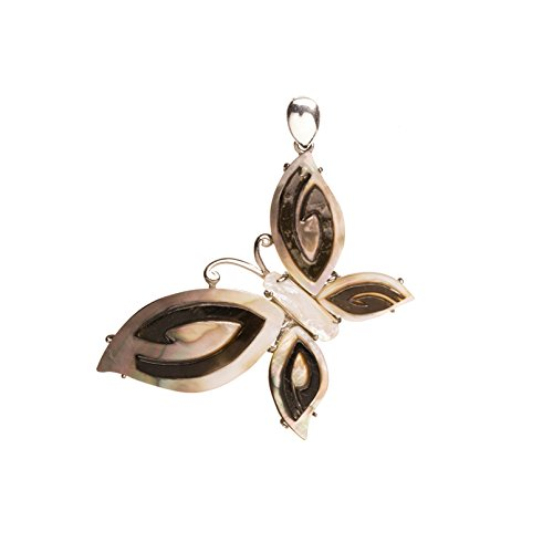(Butterfly Shell Pendant With Silver-Plated Copper Bail 53x40x5mm)