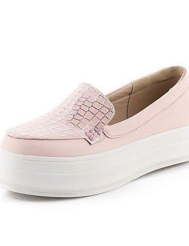 Pink Punta arrotondata Basso Blu pelle Rosa ShangYi Donna Nero Scarpe Mocassini Casual Finta OqZ1KCFw