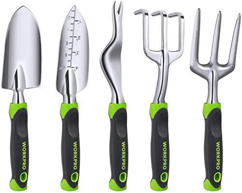 WORKPRO Garden Tool Set, 5 Pieces Gardening Work Gifts, Cast Aluminum Outdoor Hand Tools Kit for Men and Women…