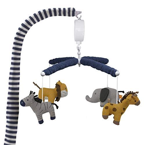 Lolli Living Baby Crib Musical Mobile w/ Safari Animals - Knitted Lion, Giraffe, Elephant and Zebra Characters | Hanging Decor w/ Electronic Music Box for Newborn & Nursery Bedding/Crib | Baby Boy