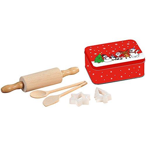 Kesper 69126 Kids Baking Set Incl. Christmas Can, Brown