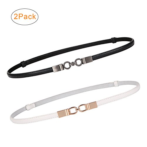 2 Pack Women Skinny Leather Belts Thin Waist Belt for Dresses Fashion Adjustable Black with Interlocking Buckle (Fashion Waisted Belt)