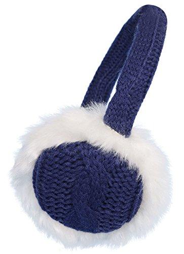 Denovit Men & Womens Faux Fur Knit Bendable Winter Earmuffs