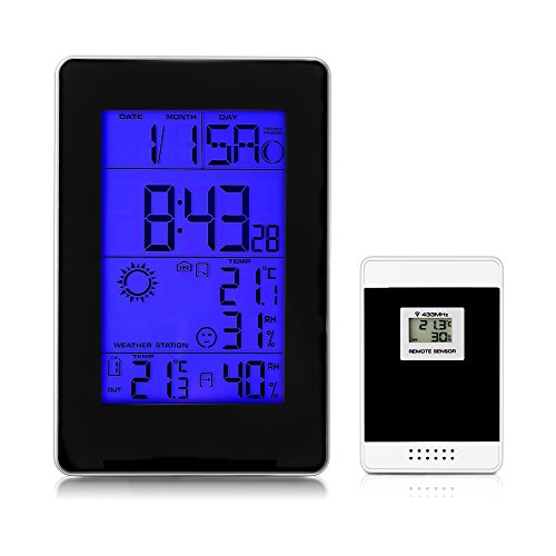 Multi-functional Wireless Weather Station, iLifeSmart Large LCD Color Display Weather Clock with Indoor / Outdoor Wireless Sensor, Temperature Humidity Monitor Thermometer, Pressure Measure for Home by iLifeSmart