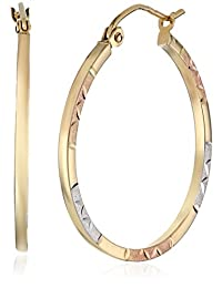 14k Tri-Color Gold Round Hoop Earrings