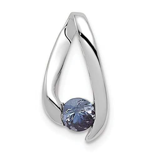 14k White Gold 4mm Blue...