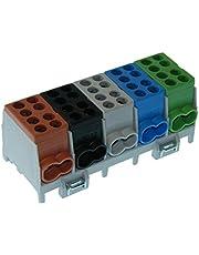 Hoofdkabel aftakklem 5-polig voor DIN-rail - stroomverdeler met VDE