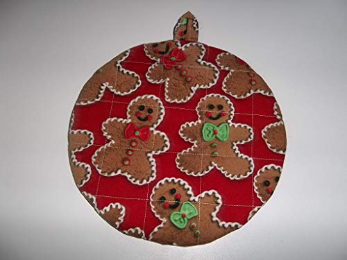 Gingerbread Man Pot Holders Heat Resistant Handmade Double Insulated Round 9 Inches (Gingerbread Pot Holder)