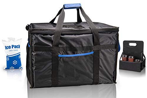 Ultimate Insulated Food Delivery Bag With Drink Carrier + [Free Ice Pack] -Thick insulation for hot or cold foods | 23