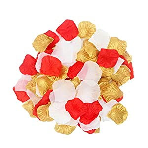 2NDTONONE 900Pcs Gold Red White Artificial Flowers Silk Rose Petals for Christmas Home Party Wedding Decoration Vase Confetti Table Scatter 36