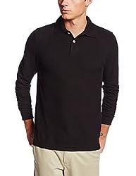 Lee Uniforms Men's Modern Fit Long Sleeve Polo, Light Blue, Small