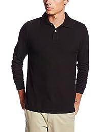 Lee Uniforms Men's Long Sleeve Polo, Black, Small