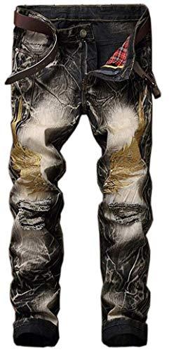 Cowboy Nero Dritto Con Jeans E Similpelle Uomo In Cotone Da Auto Giovane coltivazione Ricamati Classici 5wxwOZ6BqU