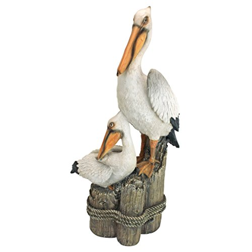 Design Toscano Coastal Decor Oceans Perch Pelicans Garden Bird Statue, 24 Inch, Polyresin, Full Color