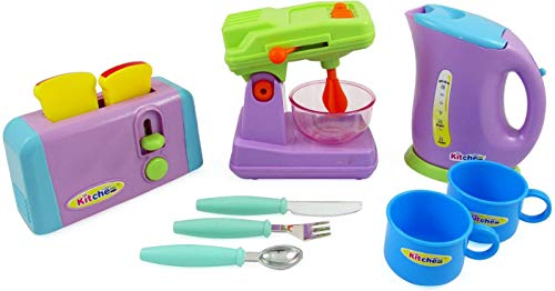 (PowerTRC Kitchen Appliances Playset - Mixer, Toaster, Kettle, Cups and Utensils)
