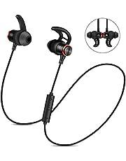 Nasharia Bluetooth Kopfhörer, 4.2 Sport Kopfhörer in-Ear Wireless Headset IPX5 Wasserdicht Level mit Magnet und Mikrofon für alle Bluetooth-Gerät (Schwarz)