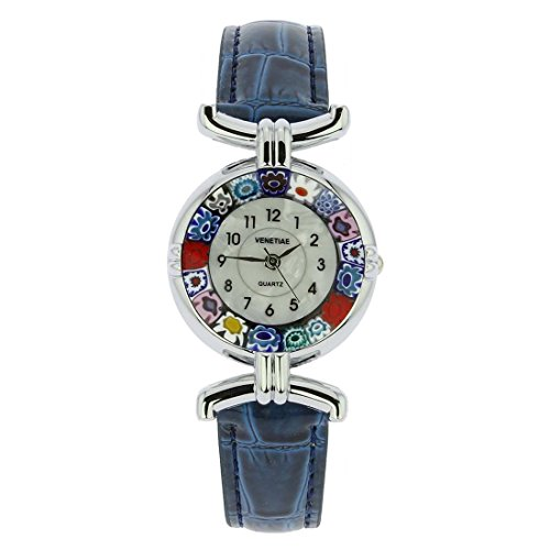 Murano Millefiori Silver Plated Analog Watch with Dark Blue Leather Band from Just Give Me Jewels