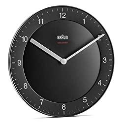Braun Classic Radio Controlled Wall Clock for Central European Time Zone (DCF/GMT+1) with Quiet Movement, Easy to Read, 20cm Diameter in Black, Model BC06B-DCF.
