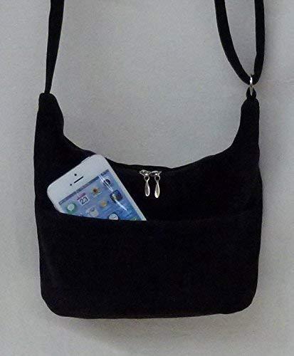 07995ab8dfda Amazon.com: Mini Hobo black faux suede shoulder bag cross body purse ...