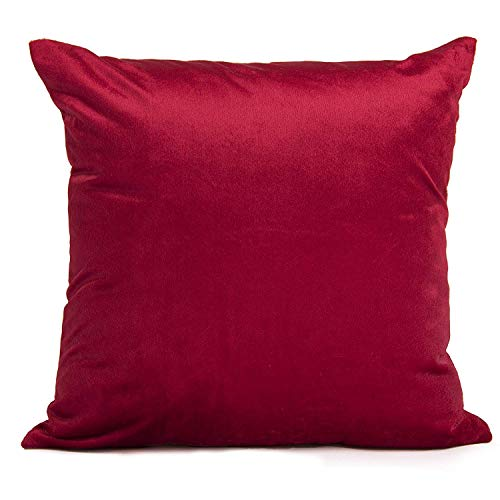 Encasa Homes Velvet Throw Pillow Cushion Cover 2 pcs Set - Red - 20 x 20 inch / 50 x 50 cm Solid Plain Dyed Soft & Smooth, Square Accent Decorative Pillowcase for Couch, Sofa, Chair, Bed & Home ()