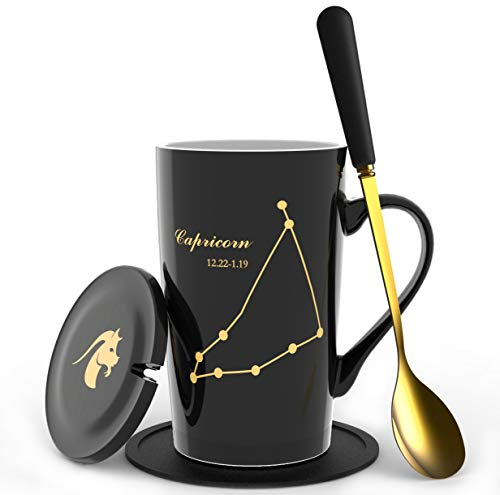 Fullcci-15oz Creative Constellation Capricorn Coffee Mug Set Capacity Upgrade Tea Cup For Cocoa Water Milk Juice(Capricorn-Black)