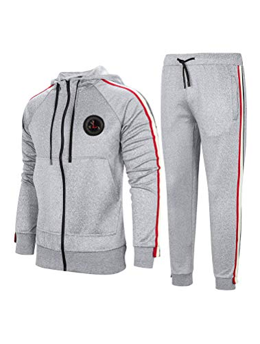 PASOK Men's Casual Tracksuit Set Long Sleeve Full-Zip Running Jogging Athletic Sweat Suits