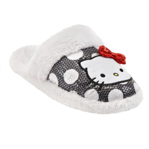 Hallo Kitty Womens Plush Gestippelde Pailletten Met Pantoffels