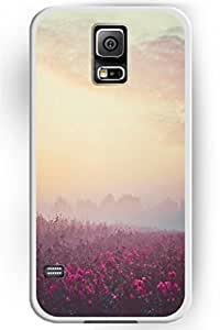 Beautiful and Flower Design summer Hard wore Shell for Samsung Galaxy S5 Hard crepe-silk Plastic Back Case Floral -- Foggy Flowers Scence &hong hong customize