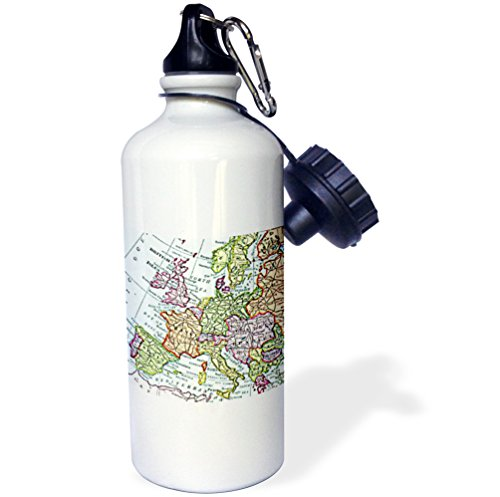 3dRose wb_112938_1 ''Vintage European map of Western Europe Britain UK France Spain Italy etc retro geography travel'' Sports Water Bottle, 21 oz, White by 3dRose