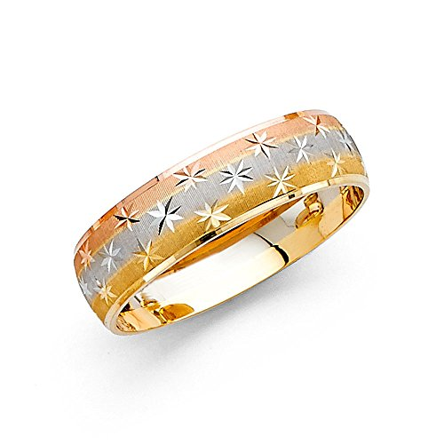 Wedding Band Solid 14k Yellow White Rose Gold Ring Dome Diamond Cut Star Stylish Tri Color 6 mm Size 11.5