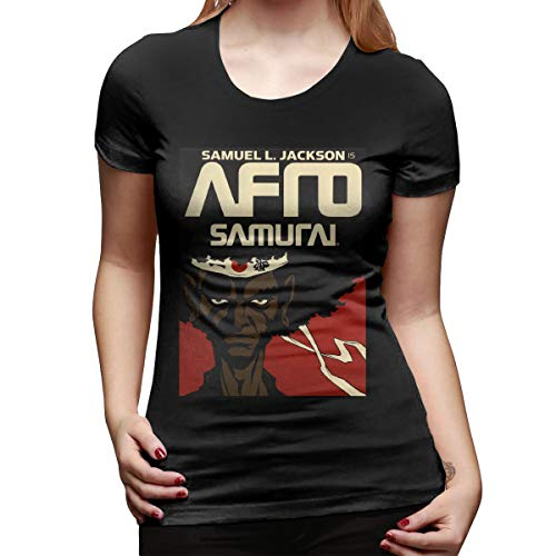 bbff71547b SPower.Tee Women's Afro Samurai Classic T Shirt L Black with Women's Short  Sleeve