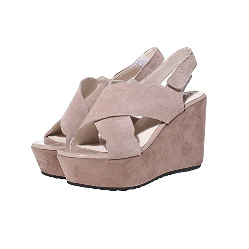 AmoonyFashion Womens Frosted Hook-and-loop Open-Toe High-Heels Solid Sandals Apricot lpKGpSIBkH