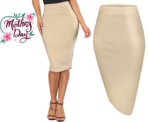 Calvin & Sally Formal Pencil Skirt for Women Cotton Knee Length Wear to Work - Khaki L