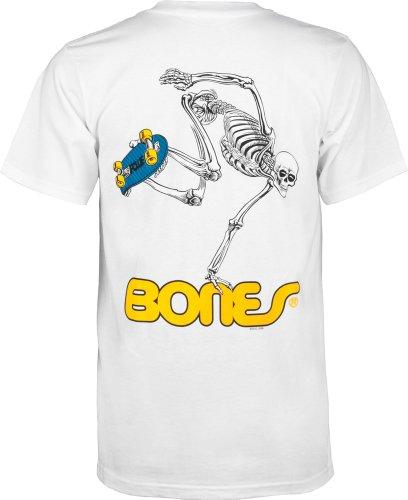 (Powell-Peralta Skateboard Skeleton T-Shirt, White, Medium)